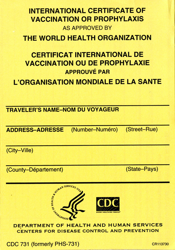 International Certificate of Vaccination or Prophylaxis as