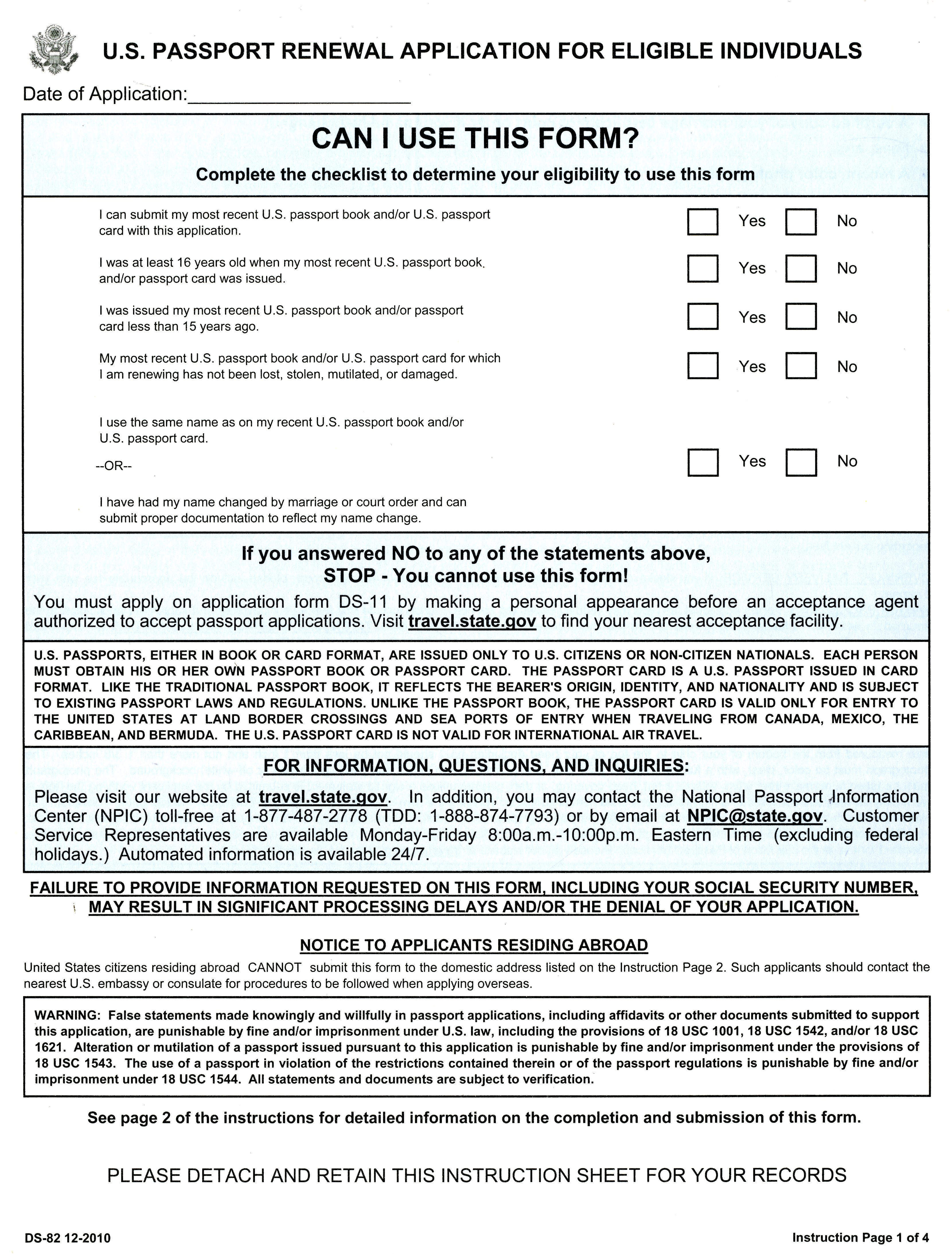 Awesome U.S. Passport Renewal Application For Eligible Individuals, Form DS 82  (2010) | U.S. Government Bookstore
