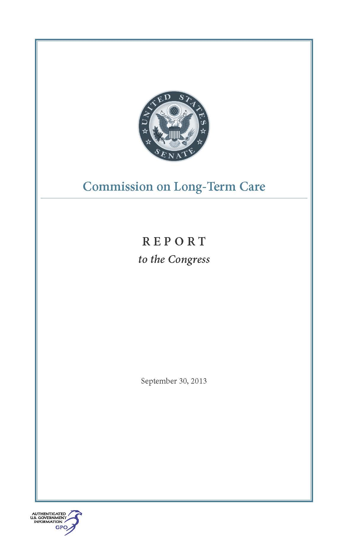Commission On Long Term Care Report To The Congress