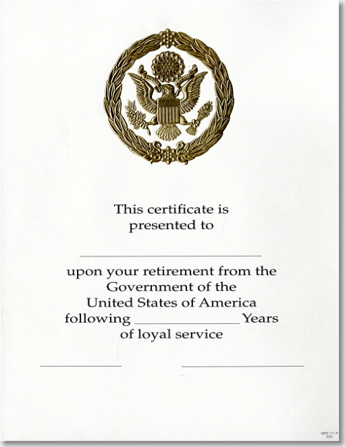 Opm Federal Career Service Award Certificate Wps 111 A