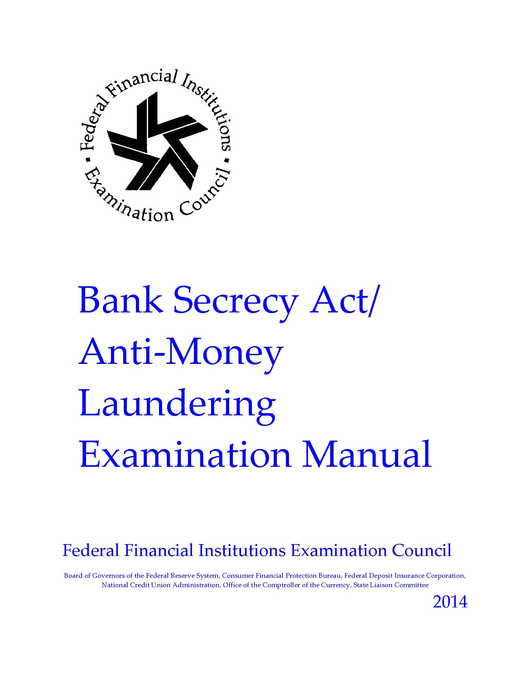 Bank Secrecy Act/Anti-Money Laundering Examination Manual | U.S. Government  Bookstore