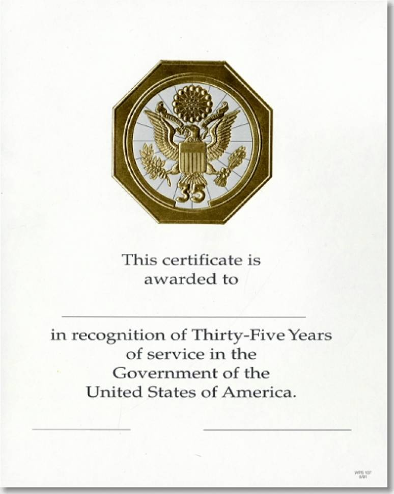 OPM Federal Career Service and Retirement Certificate WPS 107 Thirty-Five Year G