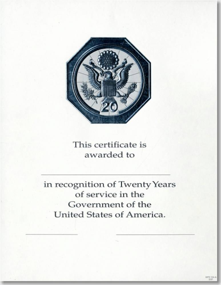 OPM Federal Career Service and Retirement Certificate WPS 104-A Twenty Year Silv