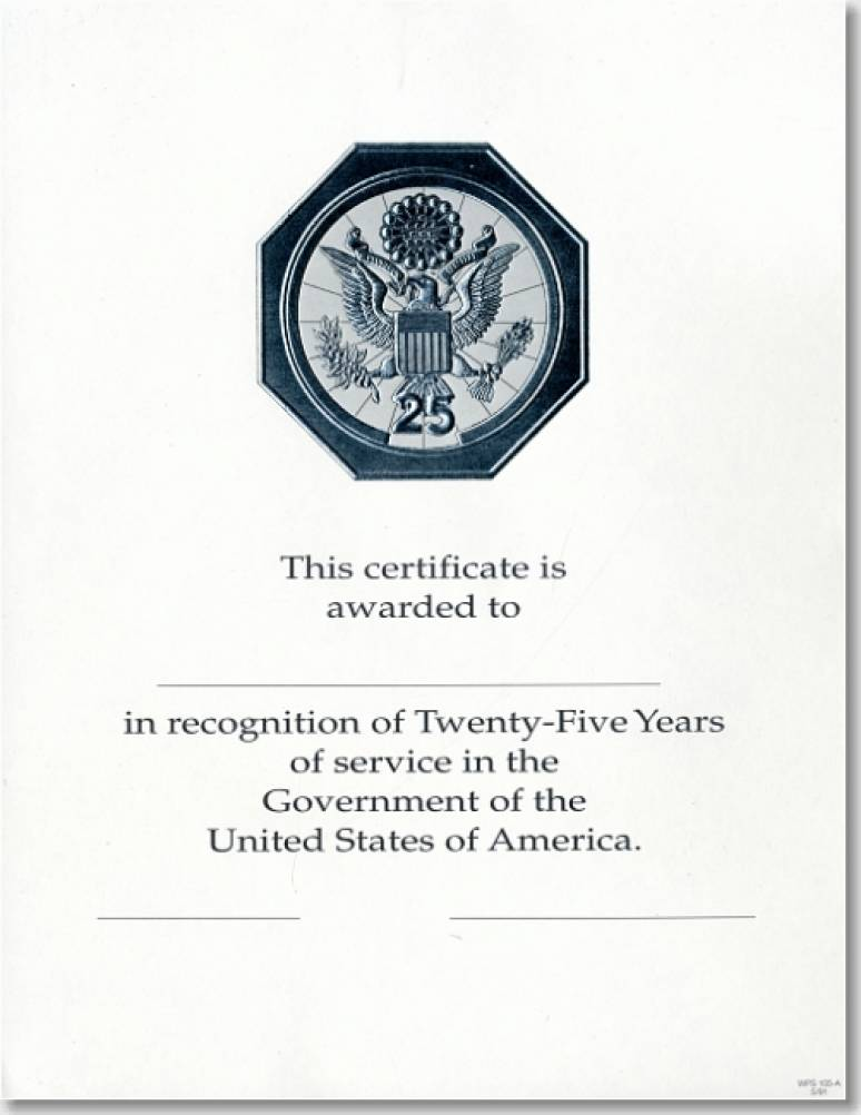 OPM Federal Career Service and Retirement Certificate WPS 105-A Twenty-Five Year
