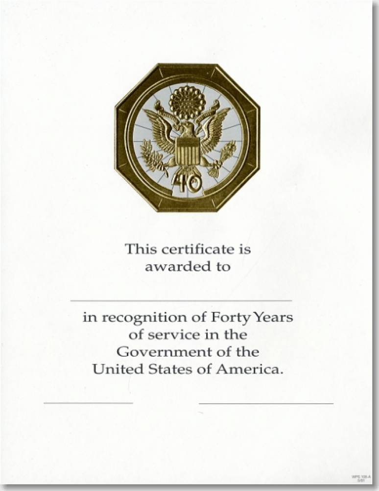 OPM Federal Career Service and Retirement Certificate WPS 108-A Forty Year Gold