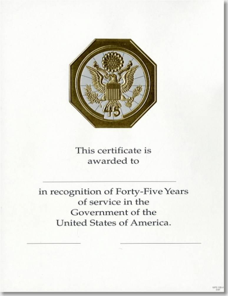 OMP Federal Career Service and Retirement Certificates WPS 109-A Forty-Five Year