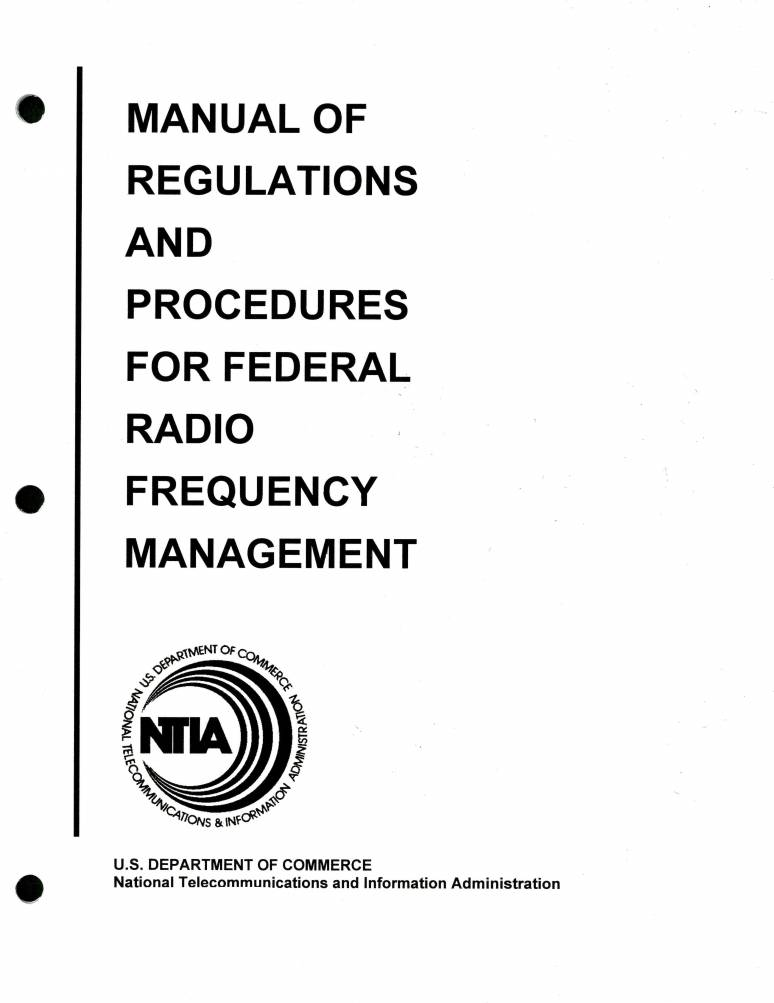 Manual of Regulations and Procedures for Federal Radio Frequency Management, 200