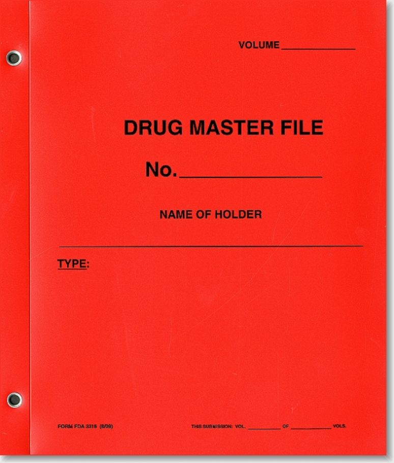 Drug Master File (Red Polyethylene Folder)