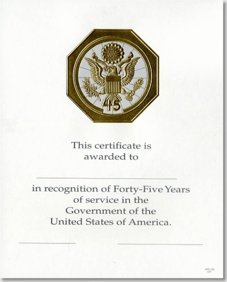 OPM Federal Career Service Award Certificate WPS 109 Forty-Five Year Gold 8x10