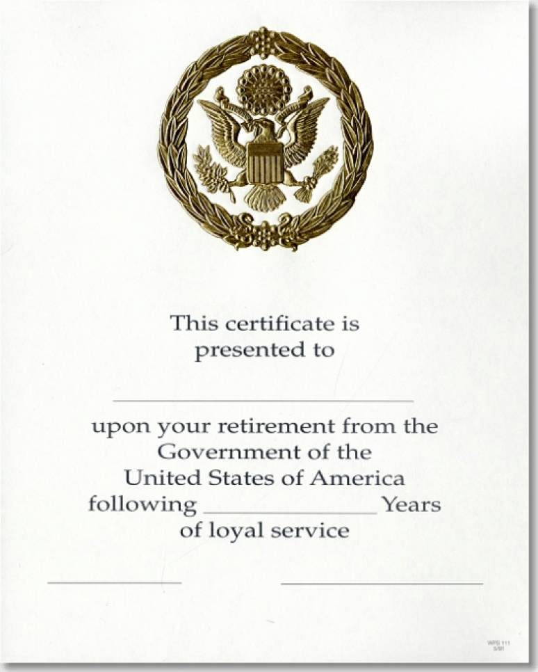 OPM Federal Career Service Award Certificate WPS 111 Retirement Gold 8x10 Agenc