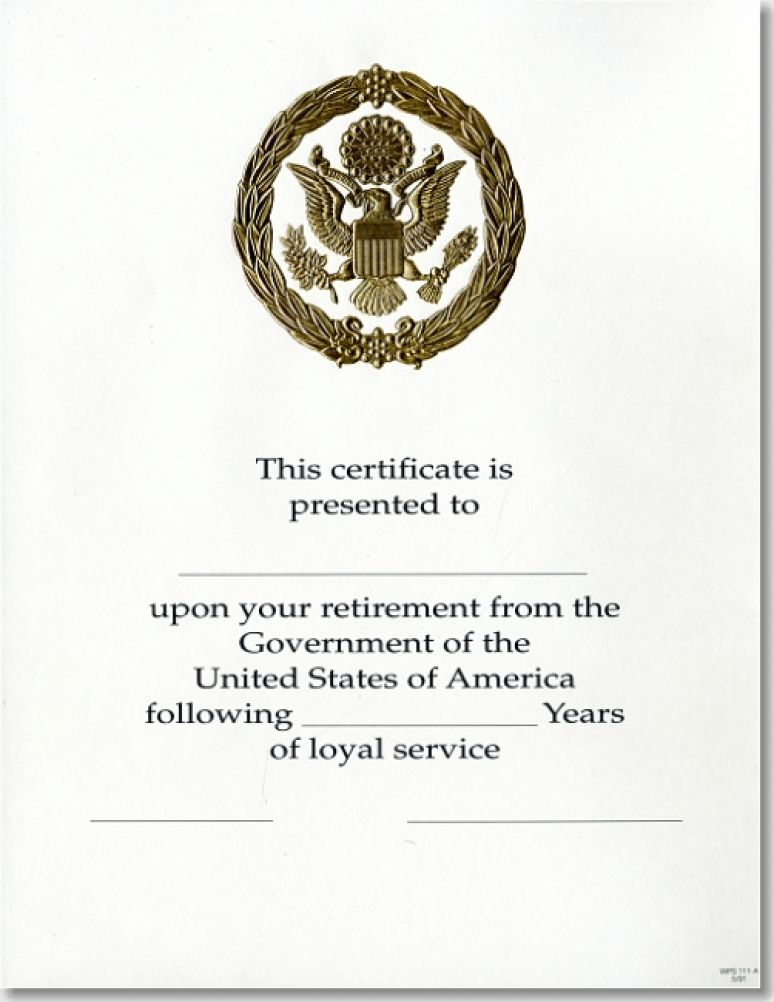 OPM Federal Career Service Award Certificate WPS 111-A Retirement Gold 8 1/2 X 1