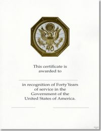 OPM Federal Career Service Award Certificate WPS 108-A Forty Year Gold 81/2 X 11