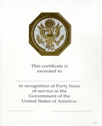 OPM Federal Career Service Award Certificate Wps 108-a Forty Year Gold 8 1/2 X 11