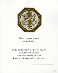 OPM Federal Career Service Award Certificate Wps 110 Fifty Year Gold 8x 10