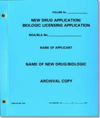New Drug Application: Biologic Licensing Application, Archival Copy (Blue Polyethylene Folder)