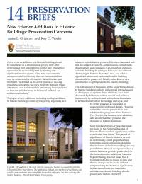New Exterior Additions to Historic Buildings: Preservation Concerns