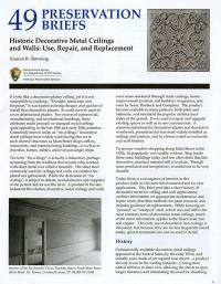 Historic Decorative Metal Ceilings and Walls: Use, Repair, and Replacement