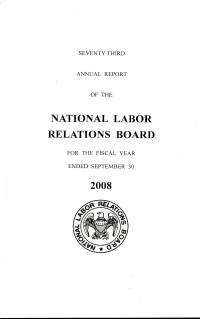 National Labor Relations Board Annual Report 2008