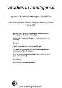 Studies in Intelligence: Journal of the American Intelligence Professional, V. 56, No. 1 (March 2012)