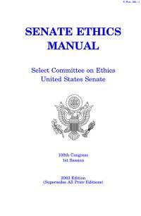 Senate Ethics Manual, 2003