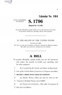 S. 1796, America's Healthy Future Act of 2009