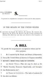 Border Security, Economic Opportunity, and Immigration Modernization Act, S. 744, A Bill (2013)