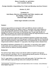 Foreign Subsidies: Jeopardizing Free Trade and Harming American Farmers, Hearing, October 21, 2015