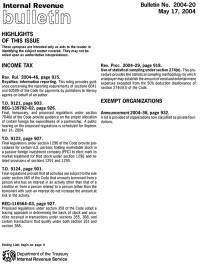 Internal Revenue Bulletin, No. 2004-20, May 17, 2004