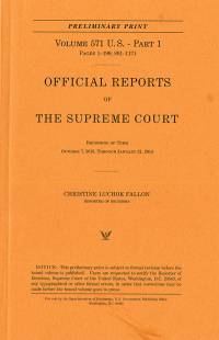 Official Reports Of the Unitede States Supreme Court Preliminary Reports 2013 V. 571, Pt. 2
