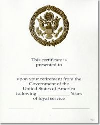 OPM Federal Career Service Award Certificate WPS 111 Retirement Gold 8x10