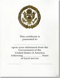 OPM Federal Career Service Award Certificate WPS 111-A Retirement Gold 8 1/2 X 11