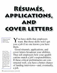 Resumes, Applications, and Cover Letters