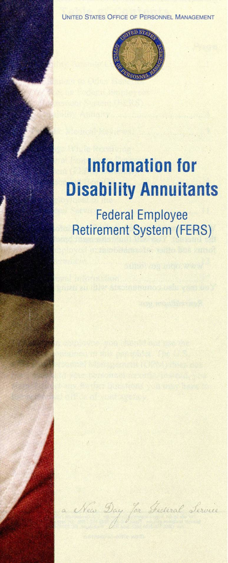 Information for Disability Annuitants: Federal Employee Retirement System (FERS)