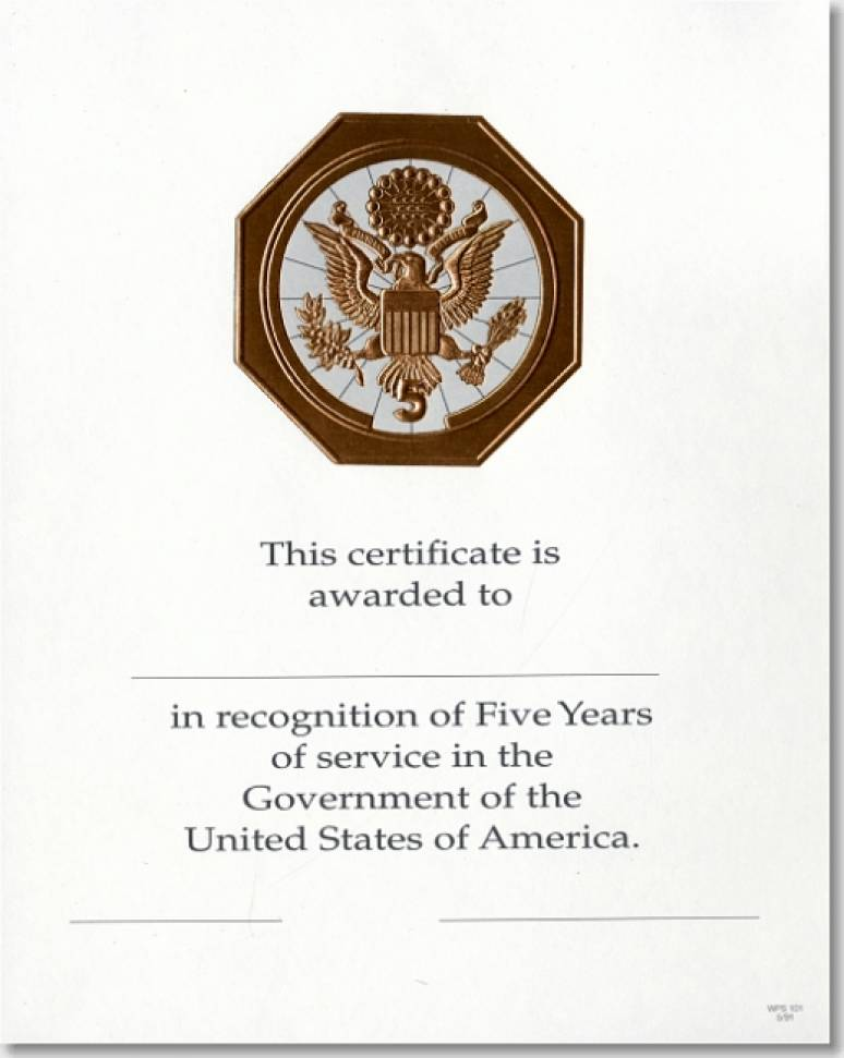 OPM Federal Career Service Award Certificates WPS 101 Five Year Bronze 8x10 (Package of 25)