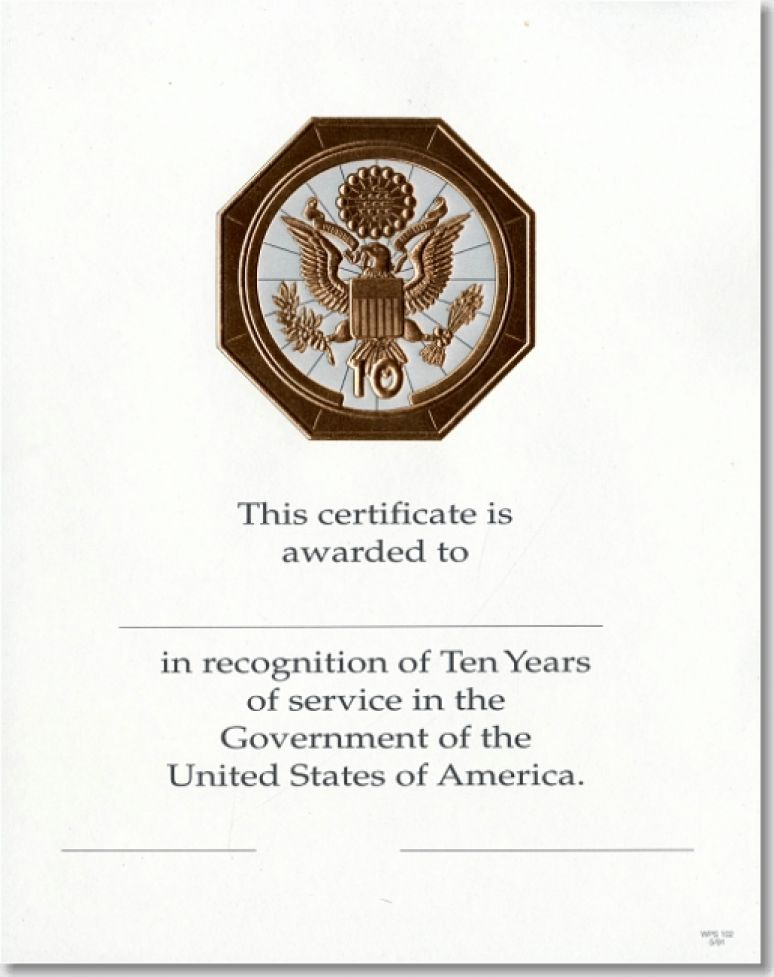 OPM Federal Career Service Award Certificates WPS 102 Ten Year Bronze 8x10 (Package of 25)
