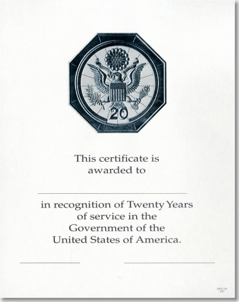 OPM Federal Career Service Award Certificates WPS 104 Twenty Year Silver 8x10 (Package of 25)