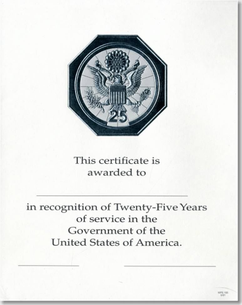 OPM Federal Career Service Award Certificates WPS 105 Twenty-Five Year Silver 8x10 (Package of 25)