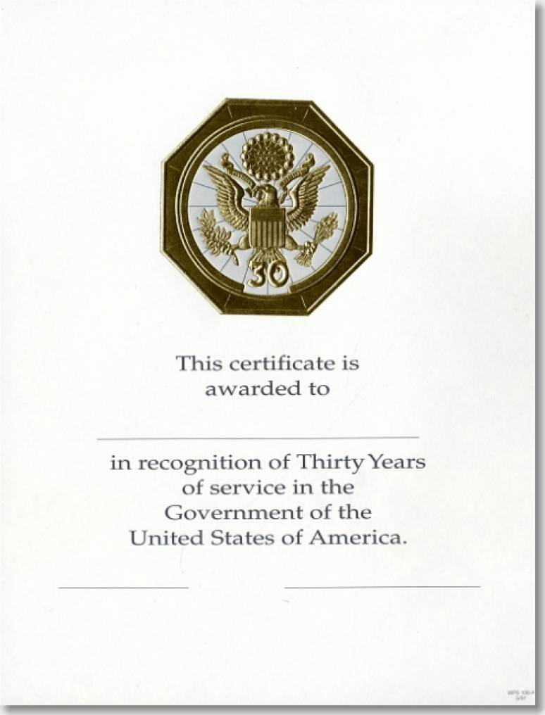 OPM Federal Career Service Award Certificates WPS 106 Thirty Year Gold 8x10 (Package of 25)