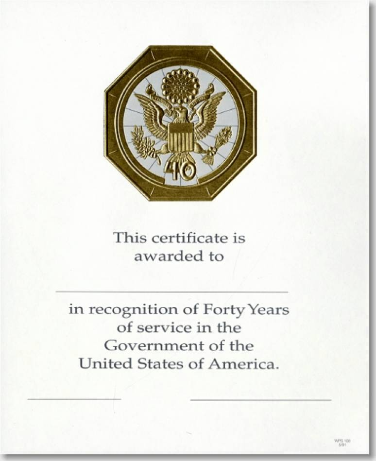 OPM Federal Career Service Award Certificate WPS 108 Forty Year Gold 8x10