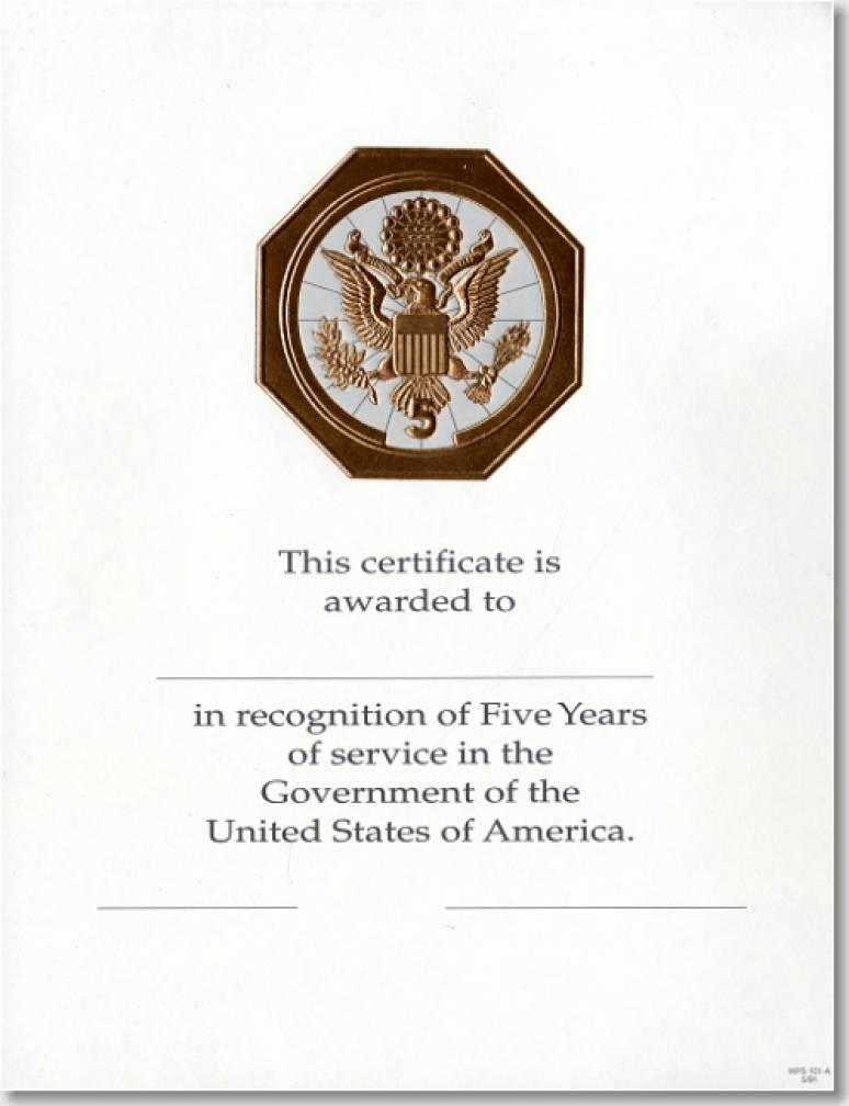 OPM Federal Career Service Award Certificates WPS 101-A Five Year Bronze 8 1/2 X 11 (Package of 25)