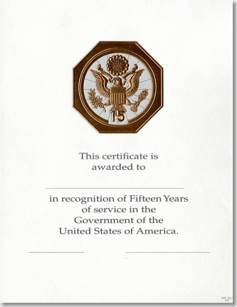 OPM Federal Career Service Award Certificates WPS 103-A Fifteen Year Bronze 8 1/2 X 11 (Package of 25)