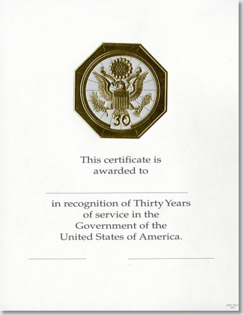 OPM Federal Career Service Award Certificates WPS 106-A Thirty Year Gold 8 1/2 X 11 (Package of 25)