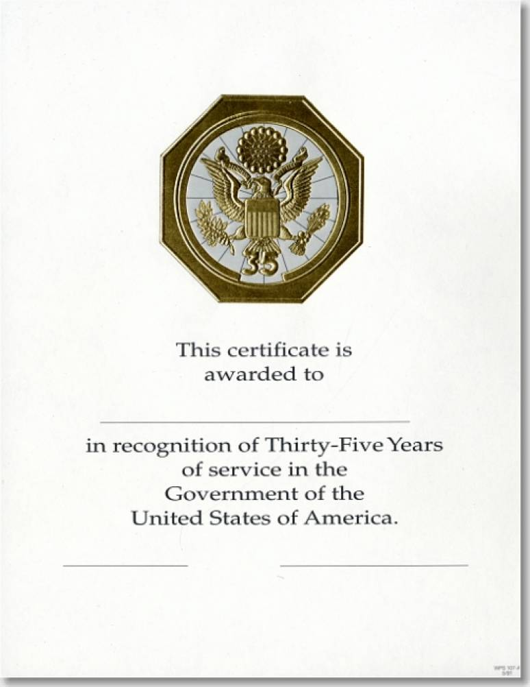 OPM Federal Career Service Award Certificate WPS 107-A Thirty-Five Year Gold 8 1/2 X 11