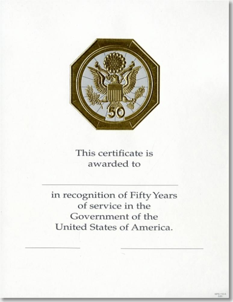 OPM Federal Career Service Award Certificate WPS 110-A Fifty Year Gold 8 1/2 X 11