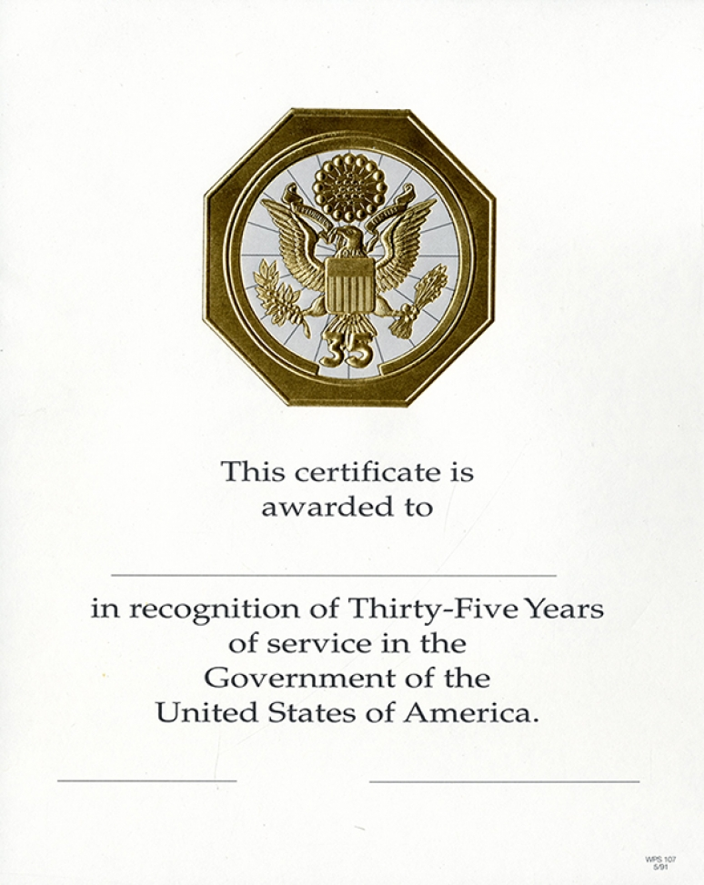 OPM Federal Career Service Award Certificate Wps 107 Thirty-five Year Gold 8x10