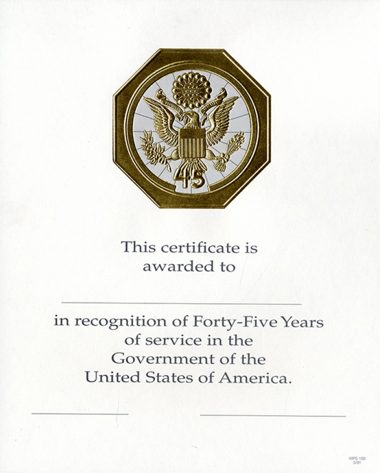 OPM Federal Career Service Award Certificate Wps 109-a Forty-five Year Gold 8 1/2 X 11