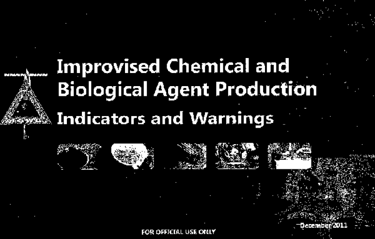 Indicators and Warnings of CB Agent Production Guidebook (TSWG Controlled Item)