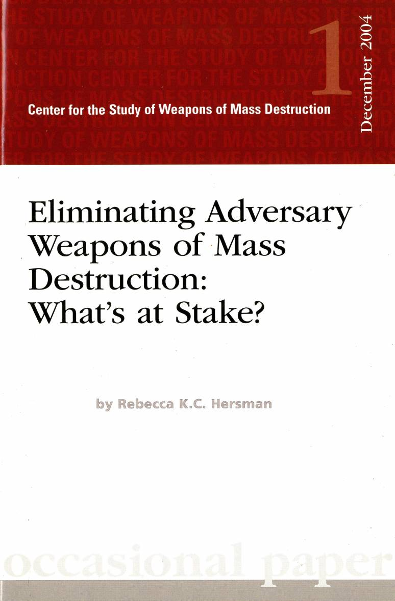 Eliminating Adversary Weapons of Mass Destruction: What's at Stake?