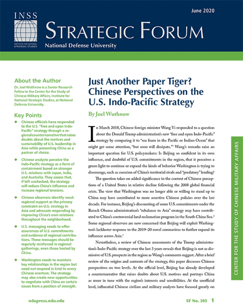 Just Another Paper Tiger? Chinese Perspectives on The U.S. Indo-Pacific Strategy