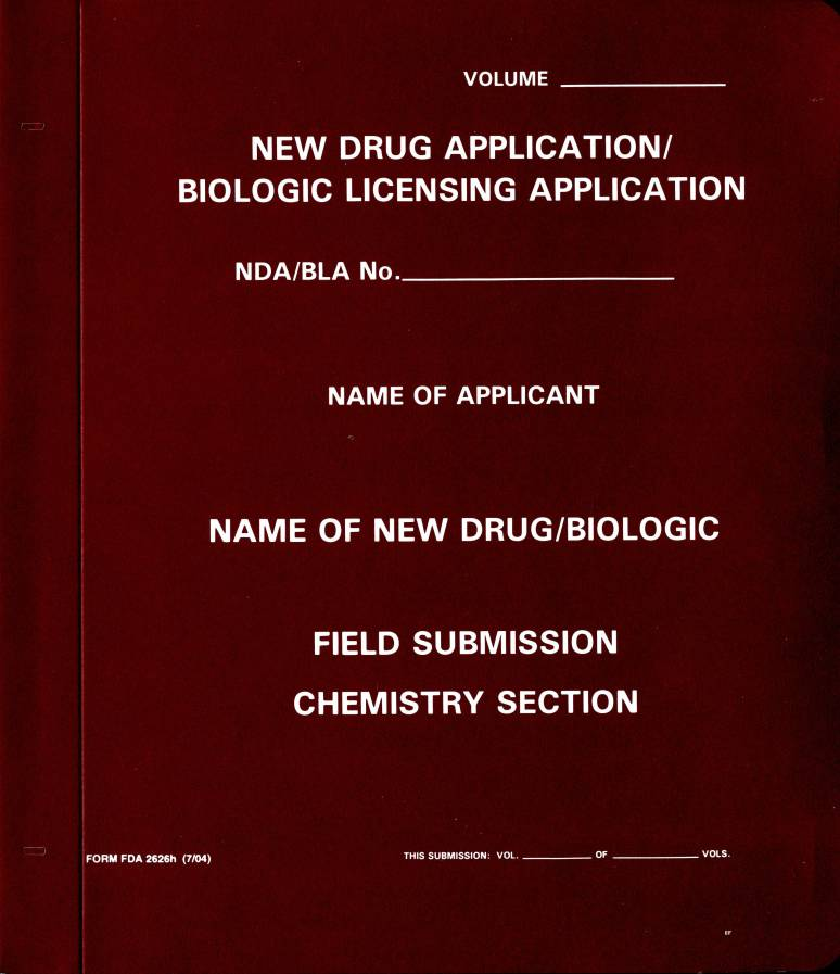 New Drug Application: Field Submission Chemistry Section (Maroon Paper Folder)